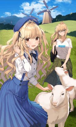 のどかな羊牧場の画像