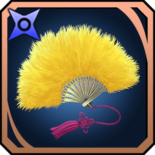 黄金色の羽扇子のイラスト