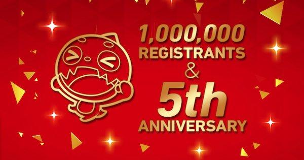 チャンネル登録者数100万人