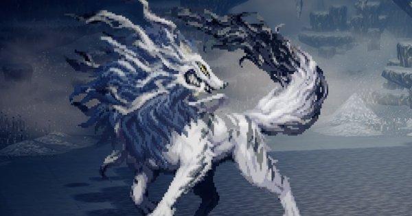 雪花の白狼