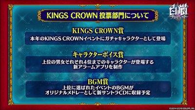 キングスクラウン3は3部門の投票