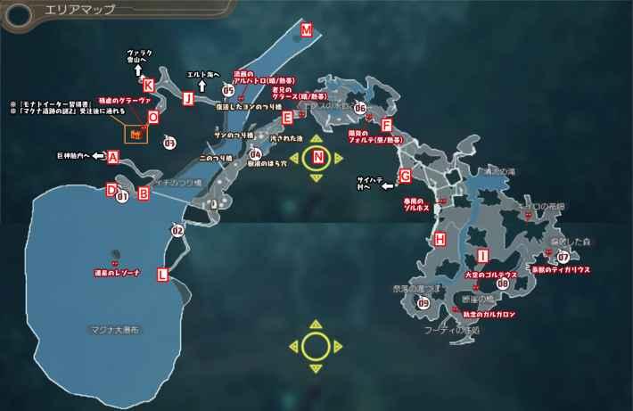 マクナ原生林のマップ
