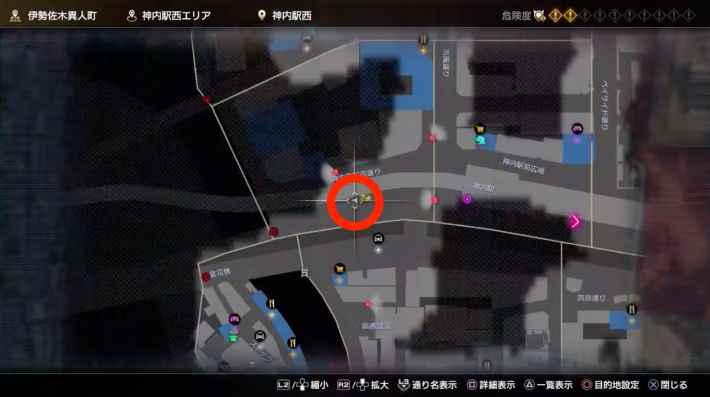 ⑤神内駅西エリアゴミ箱上のネコのマップ