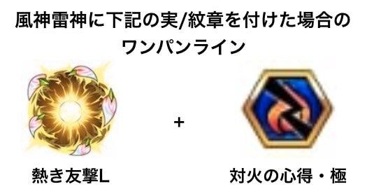 風神雷神の実と紋章を付けた場合のワンパンライン
