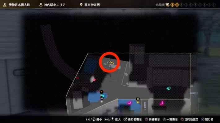 ⑥神内駅北エリアグラウンド裏のネコのマップ
