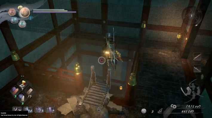 奥へ進み、はしごを降りる