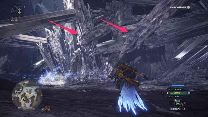 龍結晶の地エリア8の落石ポイント