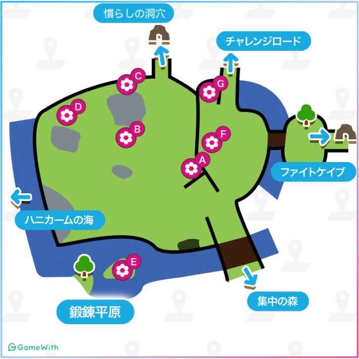 鍛錬平原のマップ