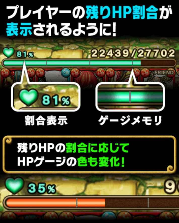 プレイヤーのHP割合が表示されるように改善