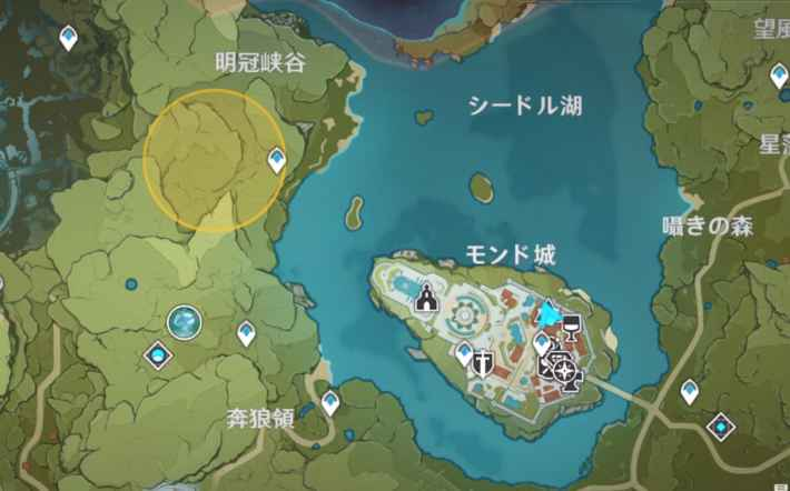 マップに表示されるエリアに入る