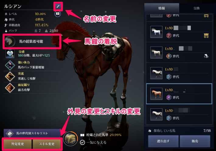 馬の各種変更