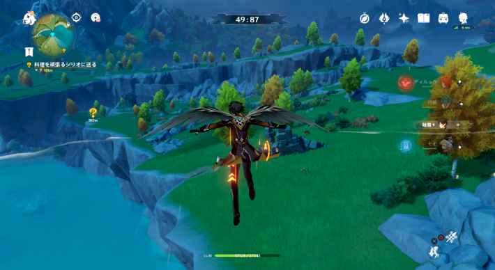 崖の上までたどり着いたら飛行