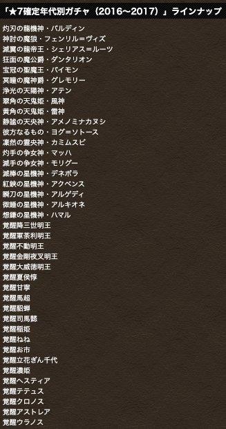 2016〜2017ラインナップ
