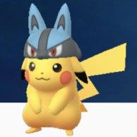 ルカリオ帽子のピカチュウの画像