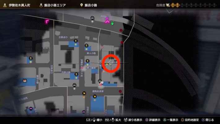 ①飯店小路エリア路地のネコのマップ