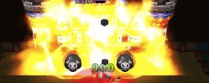 キングキャッスルが正面に巨大な爆弾を転がしている