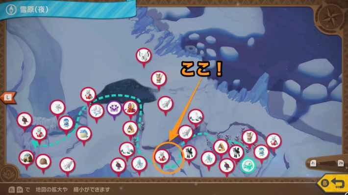 デュラス島(雪原(夜))の全体マップ