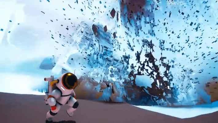 ASTRONEER -アストロニーア- 地形を爆破させているシーン