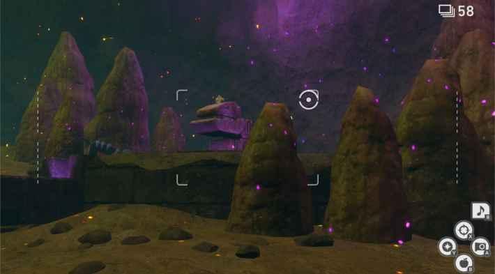 紫色に光る遺跡の上で寝ているジラーチ。