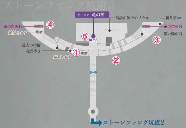 坑道3の全体マップ